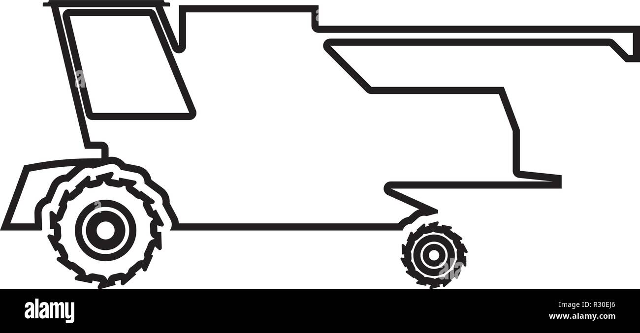 Farm harvester for work on field Combine icon black color vector I flat style simple image outline - Stock Vector