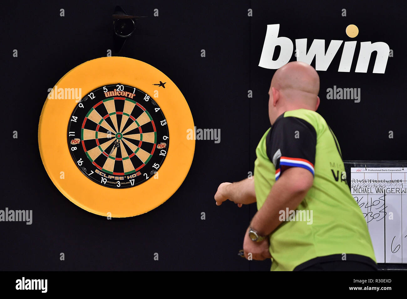 8d61e862 Michael Van Gerwen in action during the BWIN Grand Slam of Darts Group  stage at Aldersley