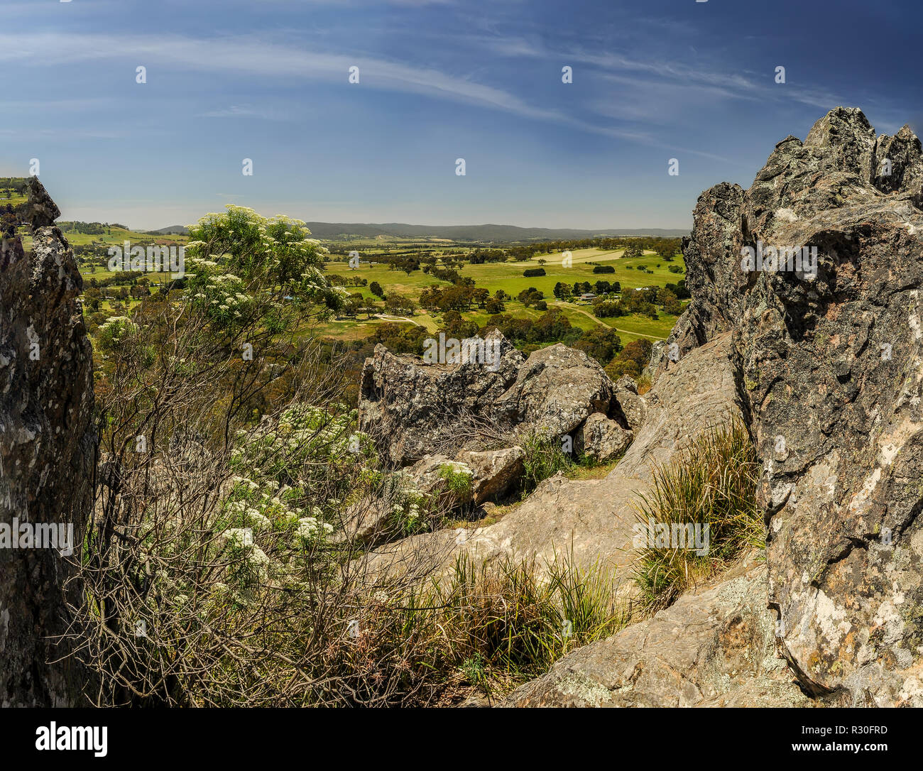 Hanging rock. - a mountain in the Central Australian state of Victoria, about 70 km Northwest of Melbourne. The height of the mountain-mamelon is 718  - Stock Image