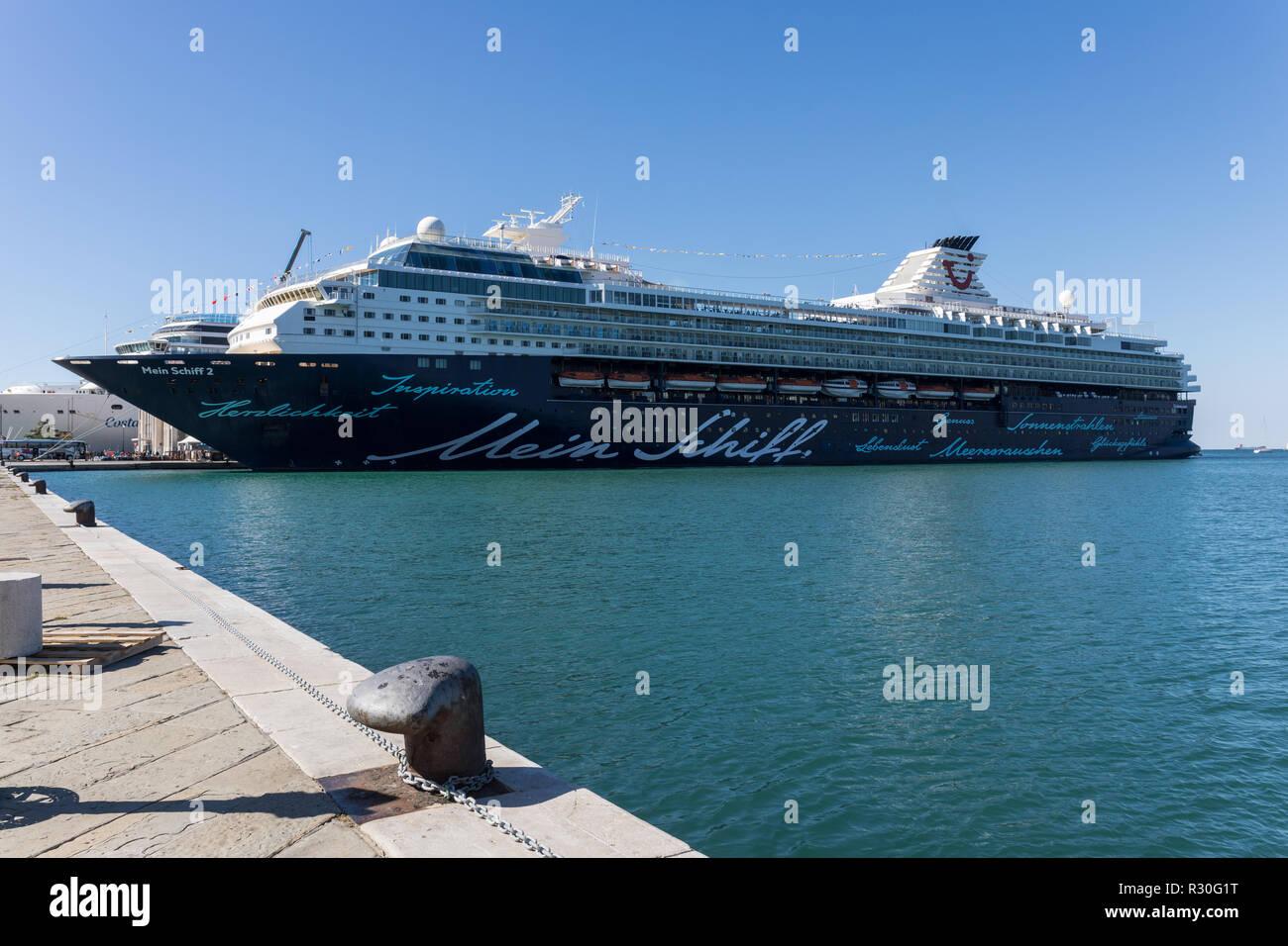 Luxury cruise ship Mein Schiff 2 docked in the port of Trieste, Friuli Venezia Giulia, Italy - Stock Image