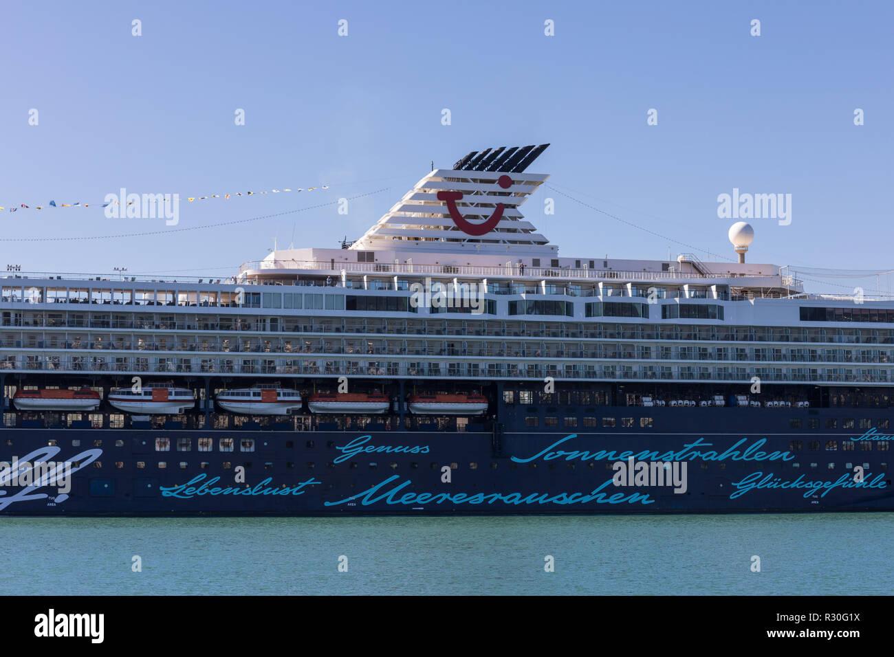 Luxury cruise ship Mein Schiff 2 detail - Stock Image