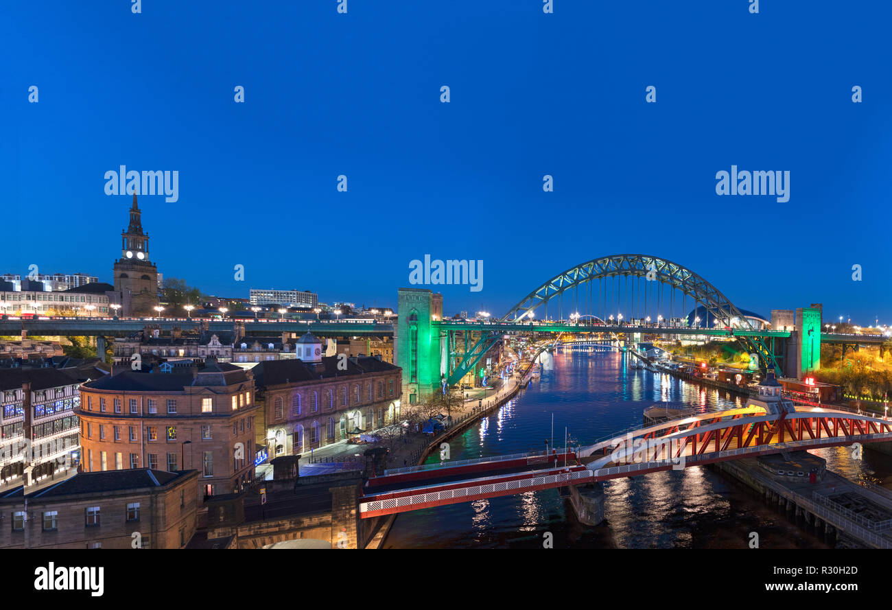 View of the River Tyne and Tyne Bridges at night, Newcastle upon Tyne, Tyne and Wear, England, UK Stock Photo