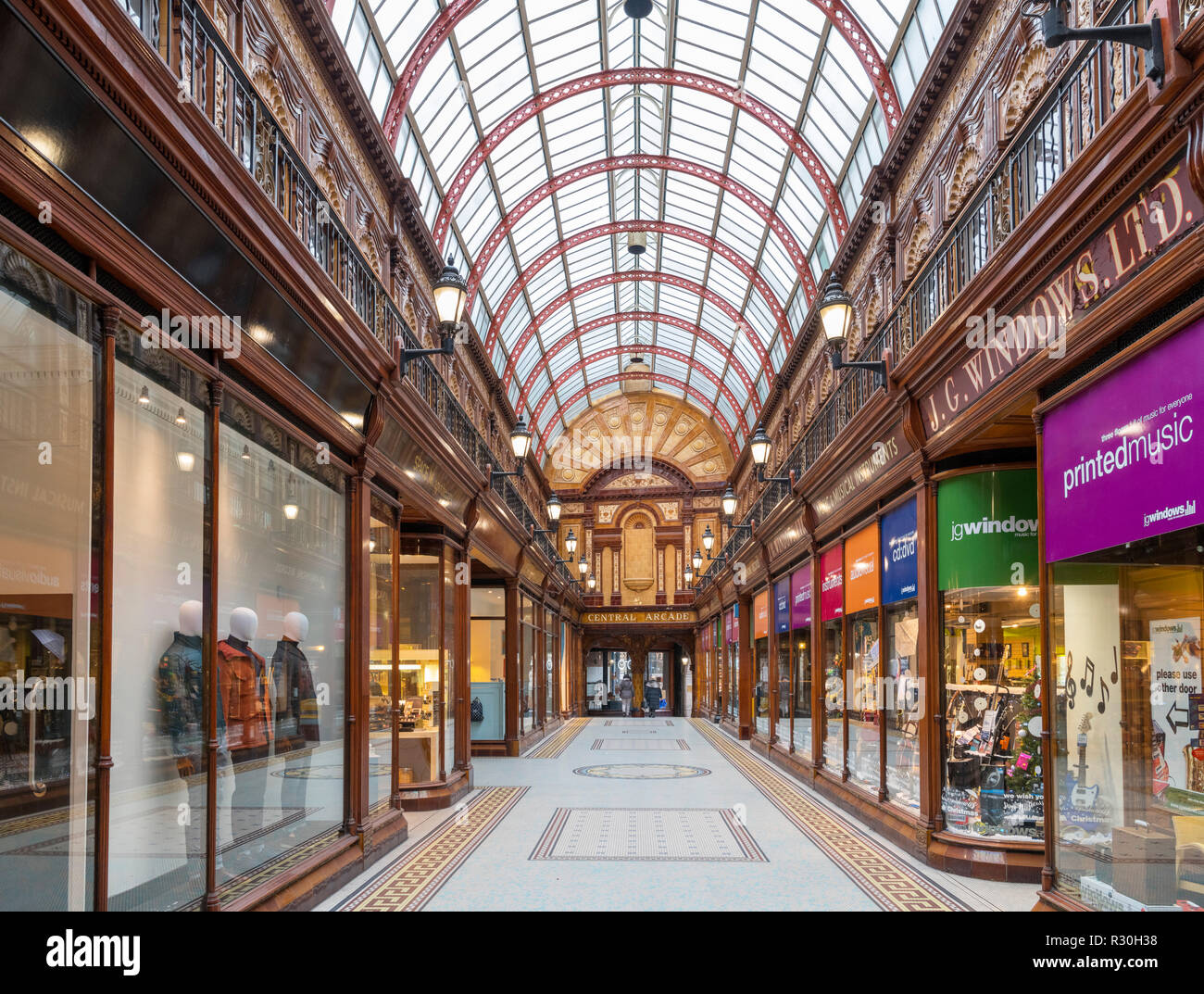 Shops in the Edwardian Central Arcade, Newcastle upon Tyne, Tyne and Wear, England, UK - Stock Image