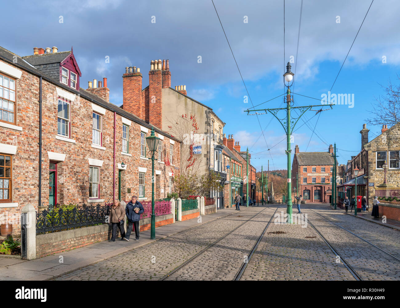 Shops on the High Street in the 1900s Town, Beamish Open Air Museum, Beamish, County Durham, England, UK - Stock Image