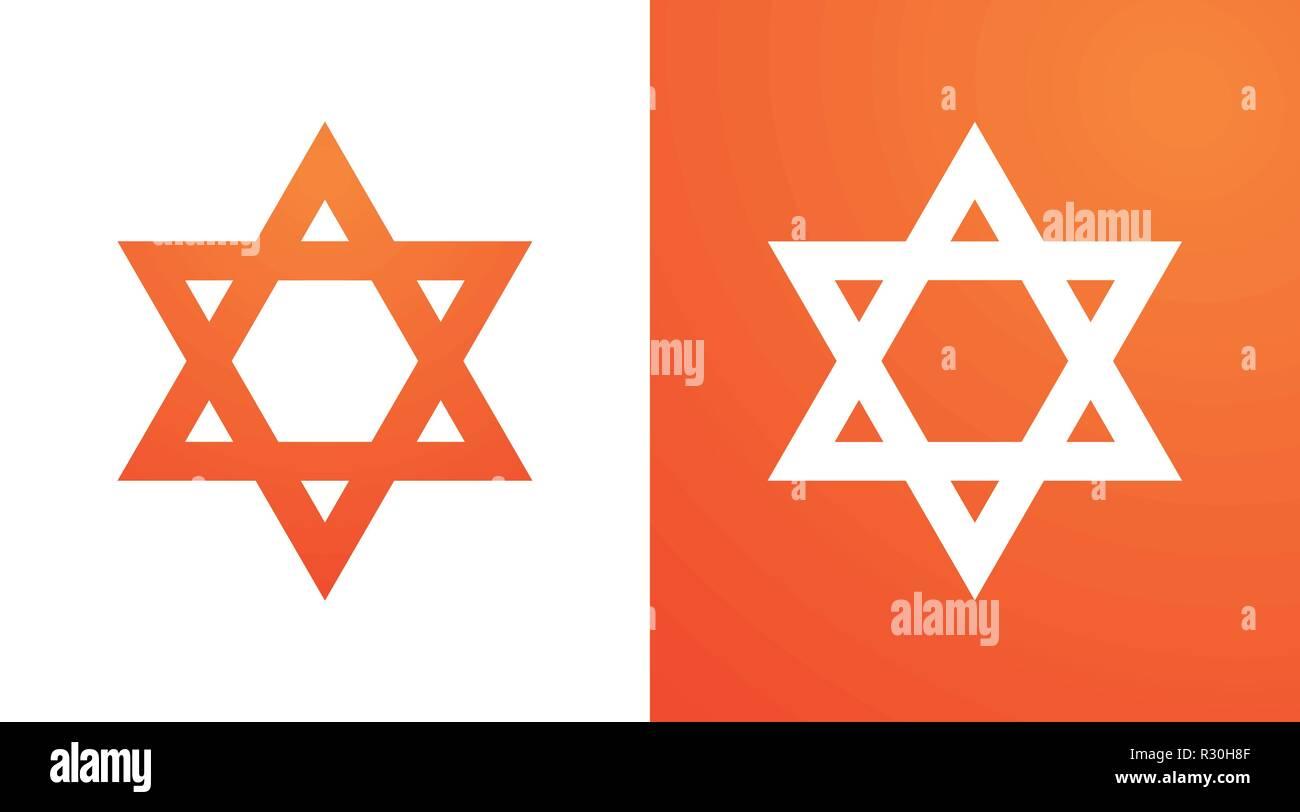 Star of David in orange color. Hexagram symbol of judaism - Stock Image