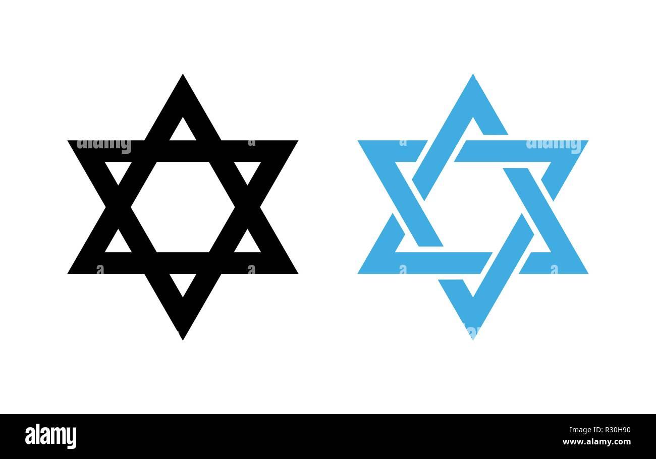 Hexagram David Star - black and blue icon of Israel holy religious symbol. - Stock Image