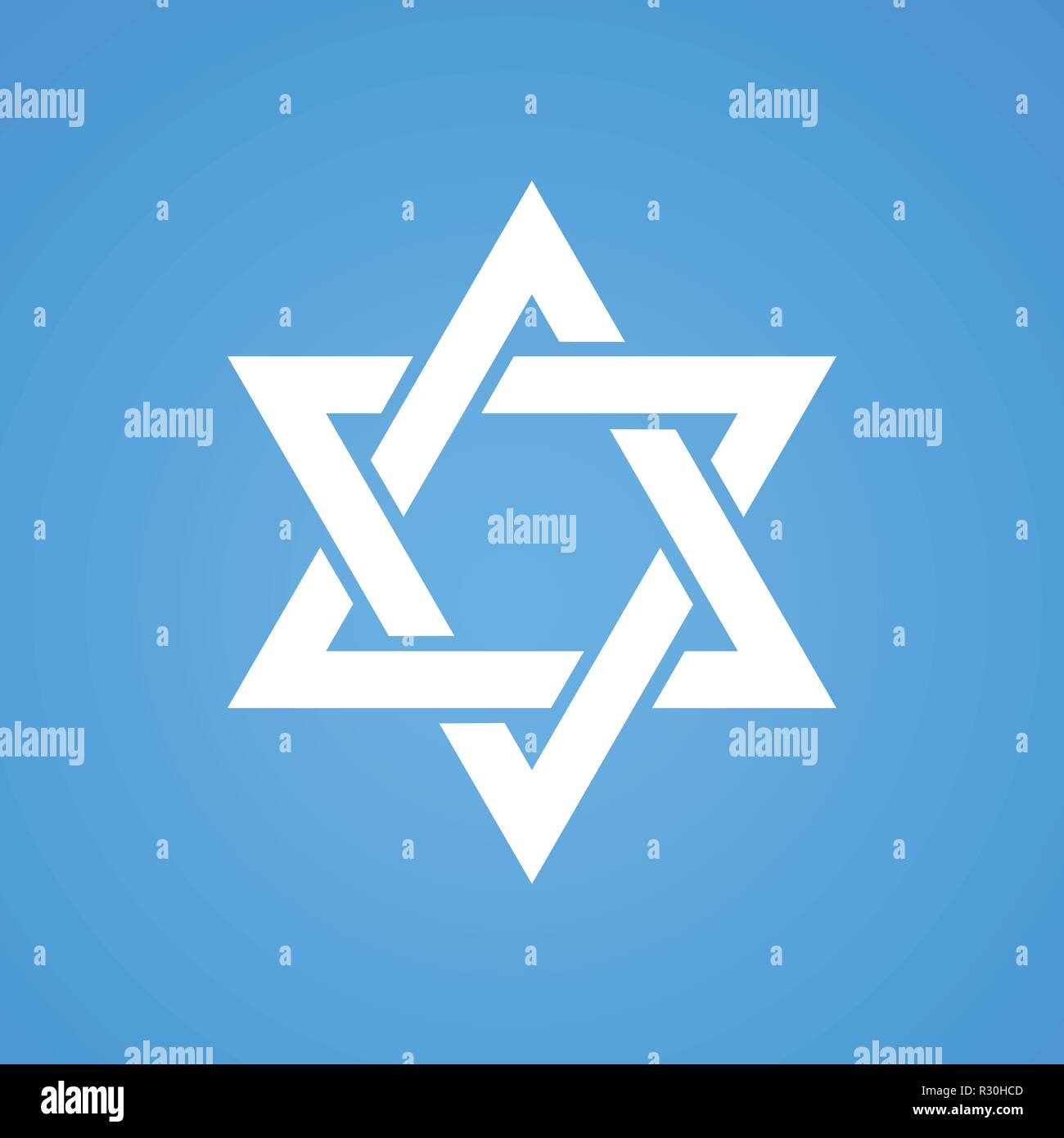 Stylized Star of David white color on blue background. Tanah Hexagram symbol of Israel judaism. Stock Vector