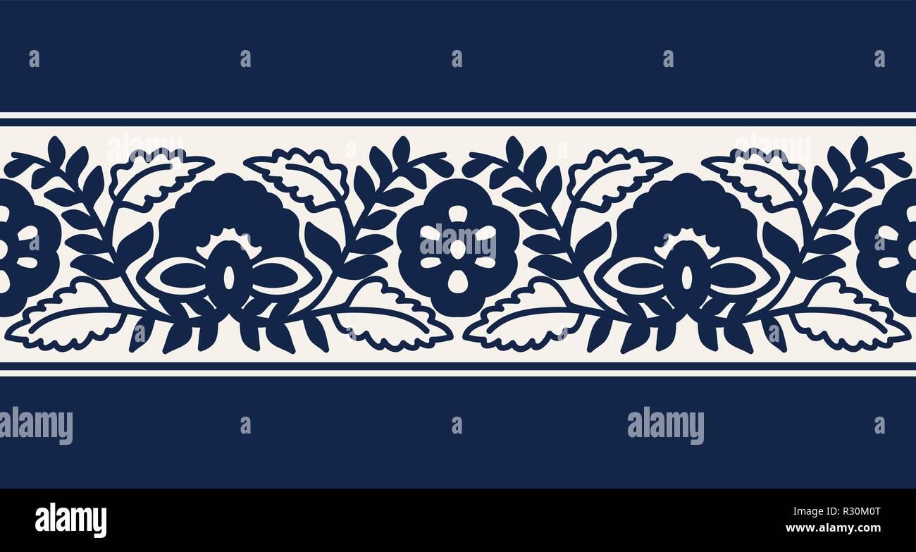 seamless woodblock printed indigo dye ethnic floral border