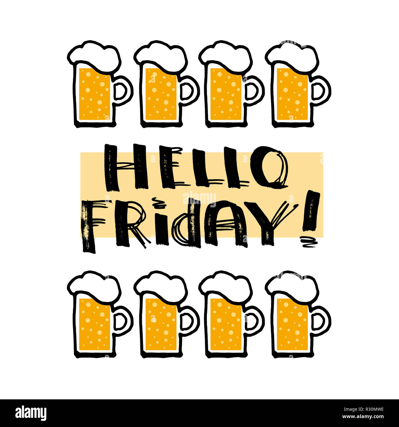 Hello Friday! Lettering, funny design for t-shirt or poster