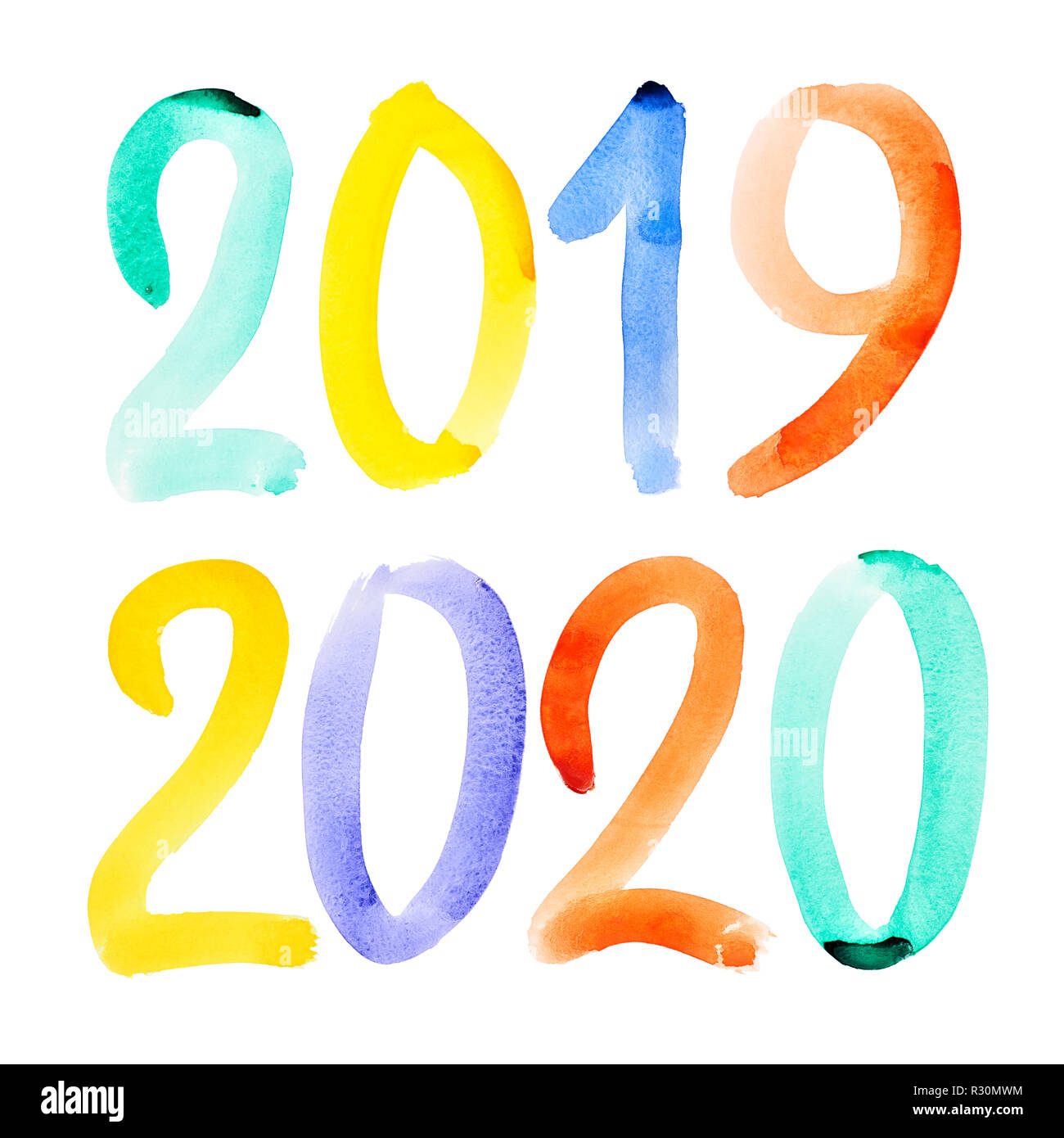 Happy New Year 2019, 2020 - Hand drawn vivid watercolor lettering ...