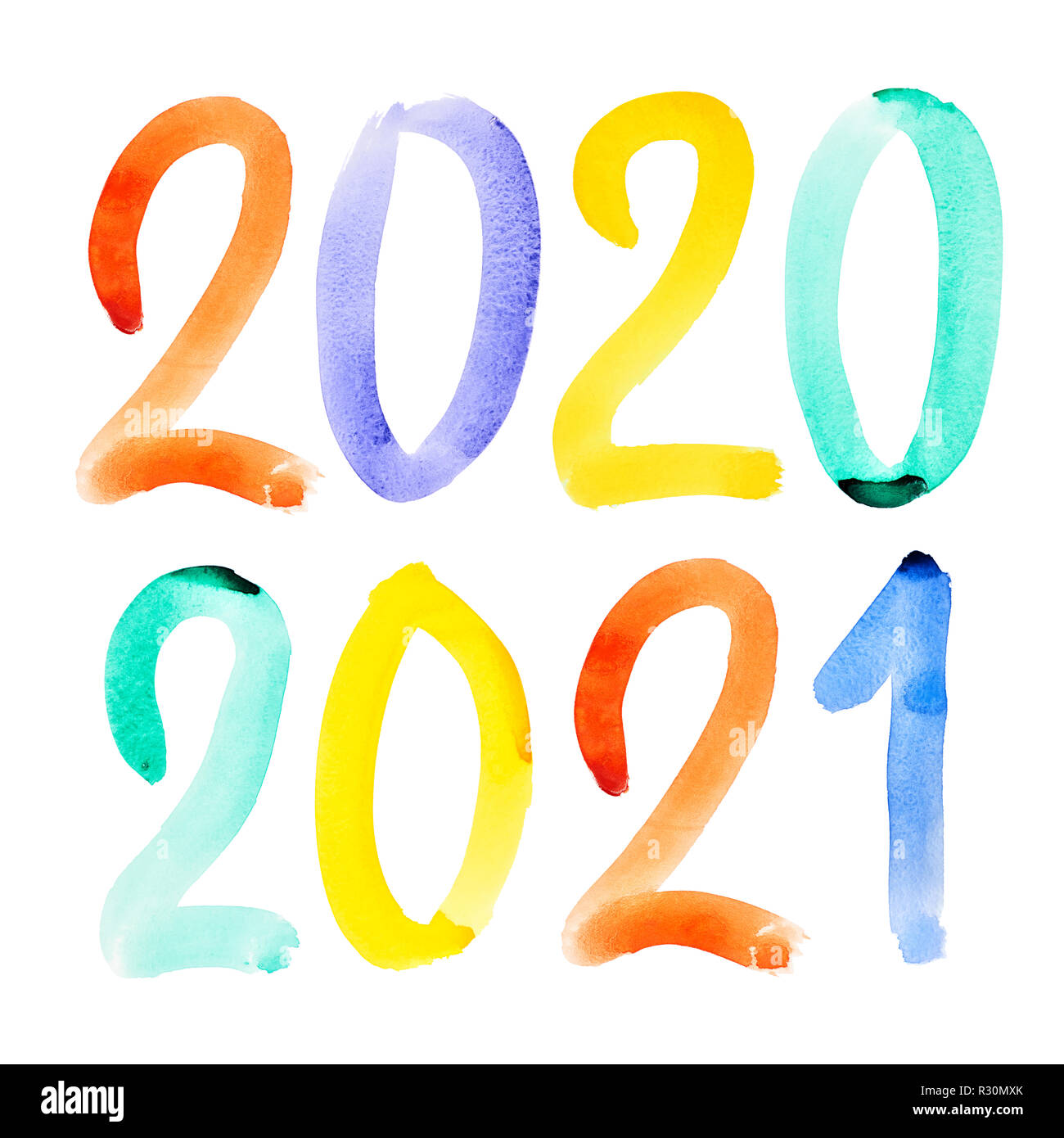 Happy New Year 2020, 2021 - Colorful hand drawn watercolor ...