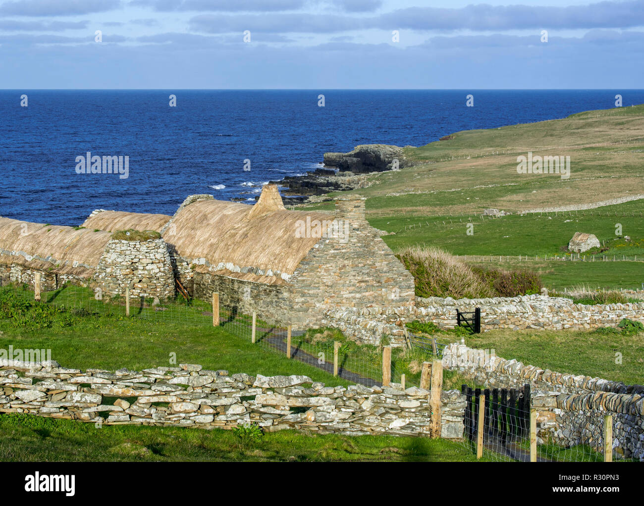 Croft House Museum / Crofthouse Museum, restored straw-thatched cottage at Boddam, Shetland Islands, Scotland, UK - Stock Image