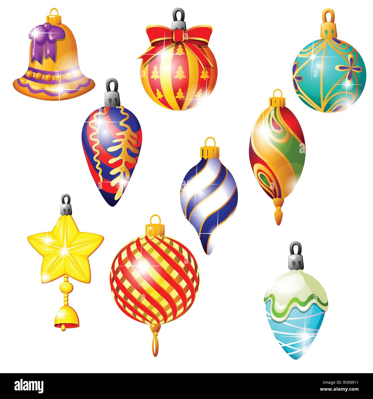 Sketch With Christmas Tree Decorations Different Forms