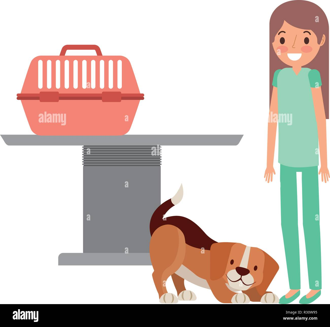 veterinary nurse and dog with cage clinic petcare vector illustration - Stock Image
