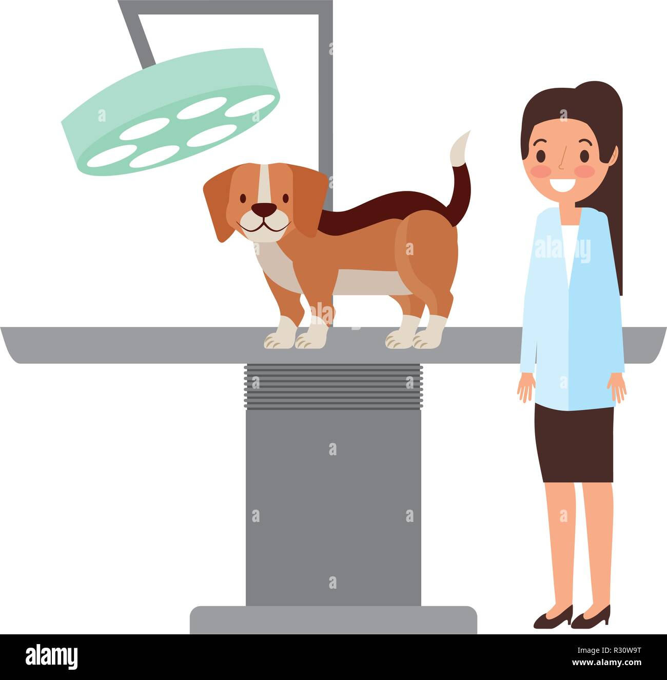 veterinary doctor female and dog clinic petcare vector illustration - Stock Vector