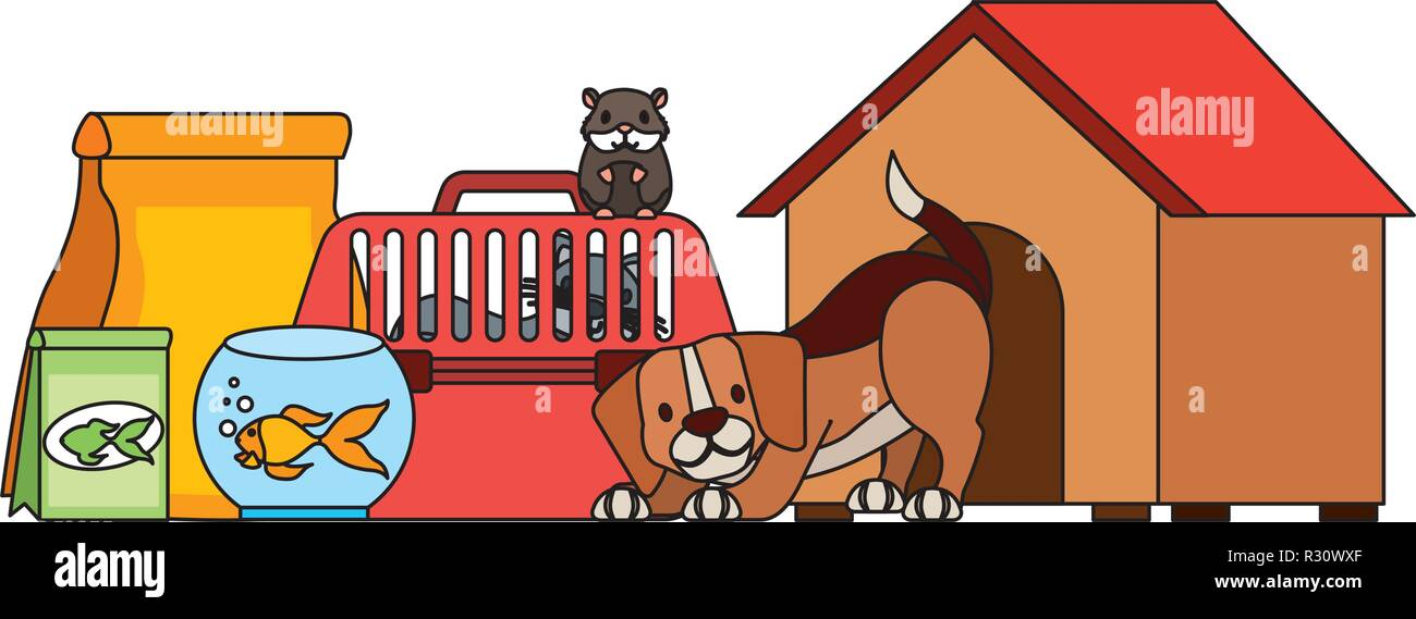 dog hamster and cat on cage food house pet vector illustration - Stock Image