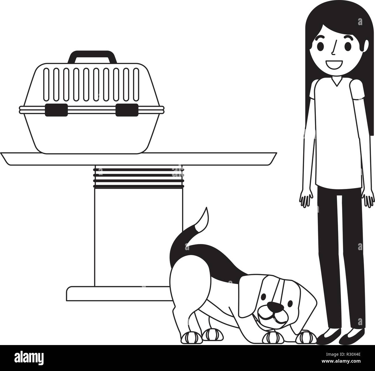 veterinary nurse and dog with cage clinic petcare vector illustration vector illustration - Stock Image