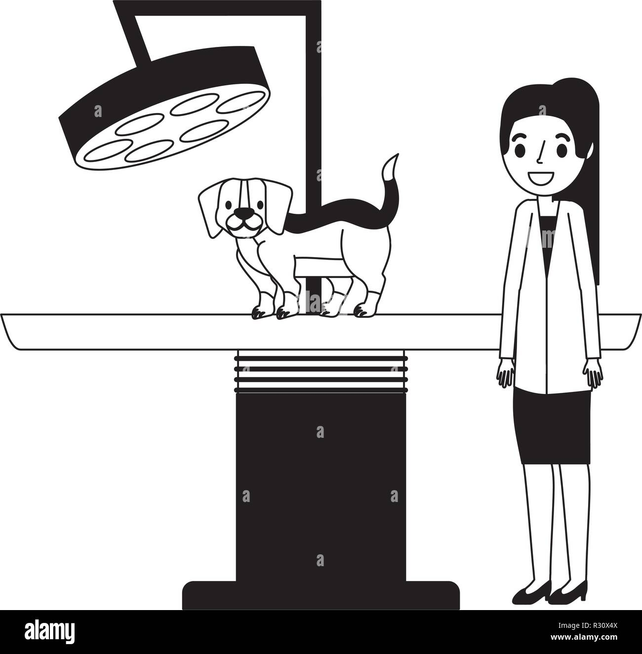 female doctor and dog scanning machine veterinary clinic vector illustration vector illustration - Stock Vector