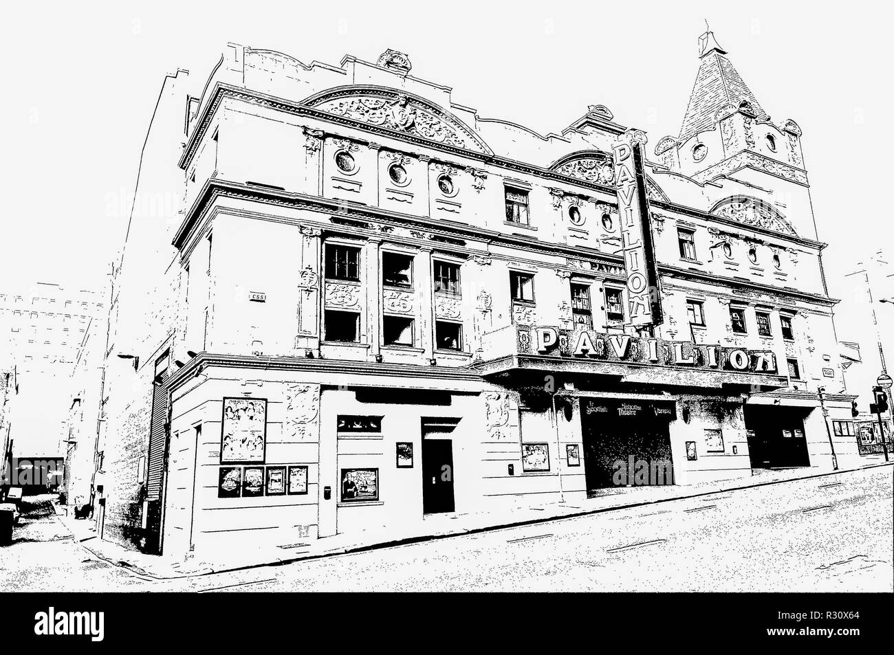 Digital pen & ink sketch of The Pavilion Theatre, Renfield Street, Glasgow, Scotland, UK. Opened in 1904 and is one of the oldest Theatres in Scotland - Stock Image