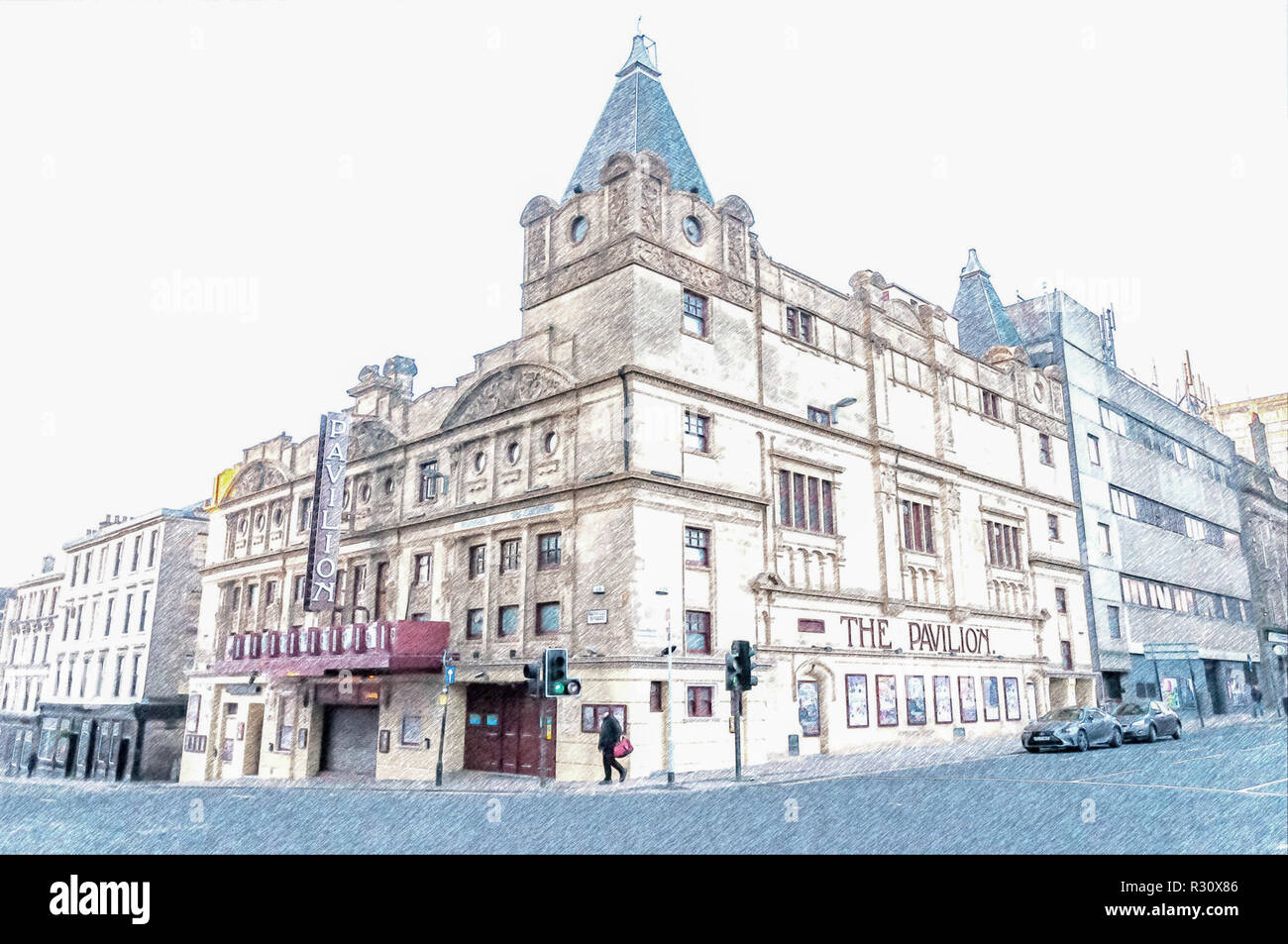 Digital pencil sketch of The Pavilion Theatre, Renfield Street, Glasgow, Scotland, UK, Opened in 1904 and is one of the oldest Theatres in Scotland - Stock Image