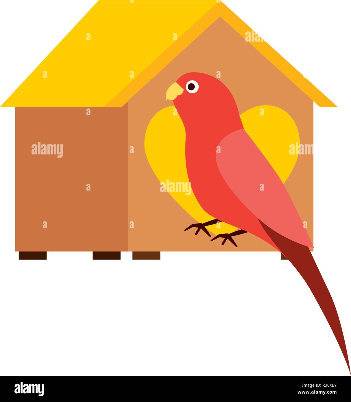 red parrot with wooden house pet vector illustration - Stock Image