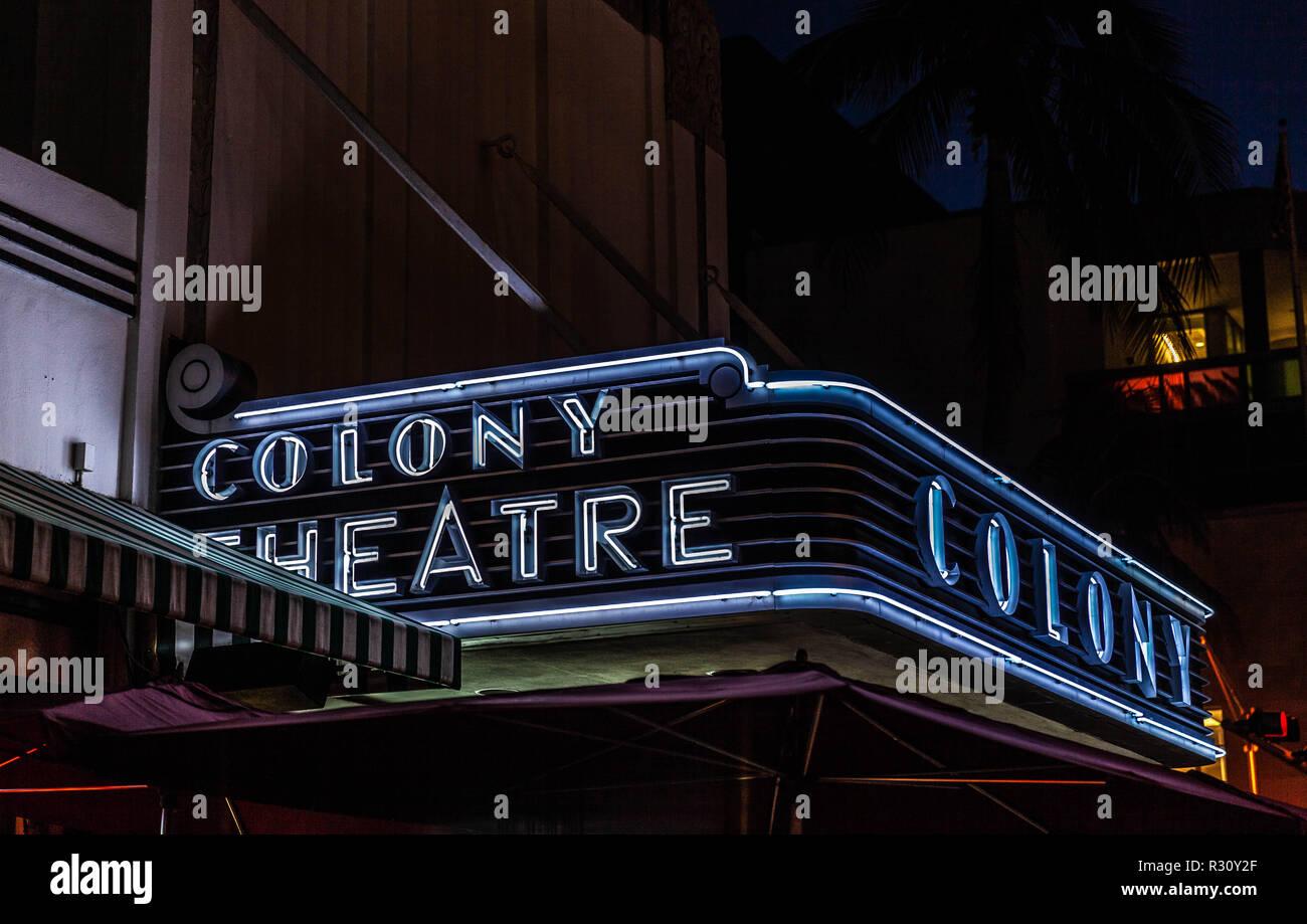 The Colony Theatre luminous entrance canopy, Lincoln Rd, Miami Beach, FL, USA. Stock Photo