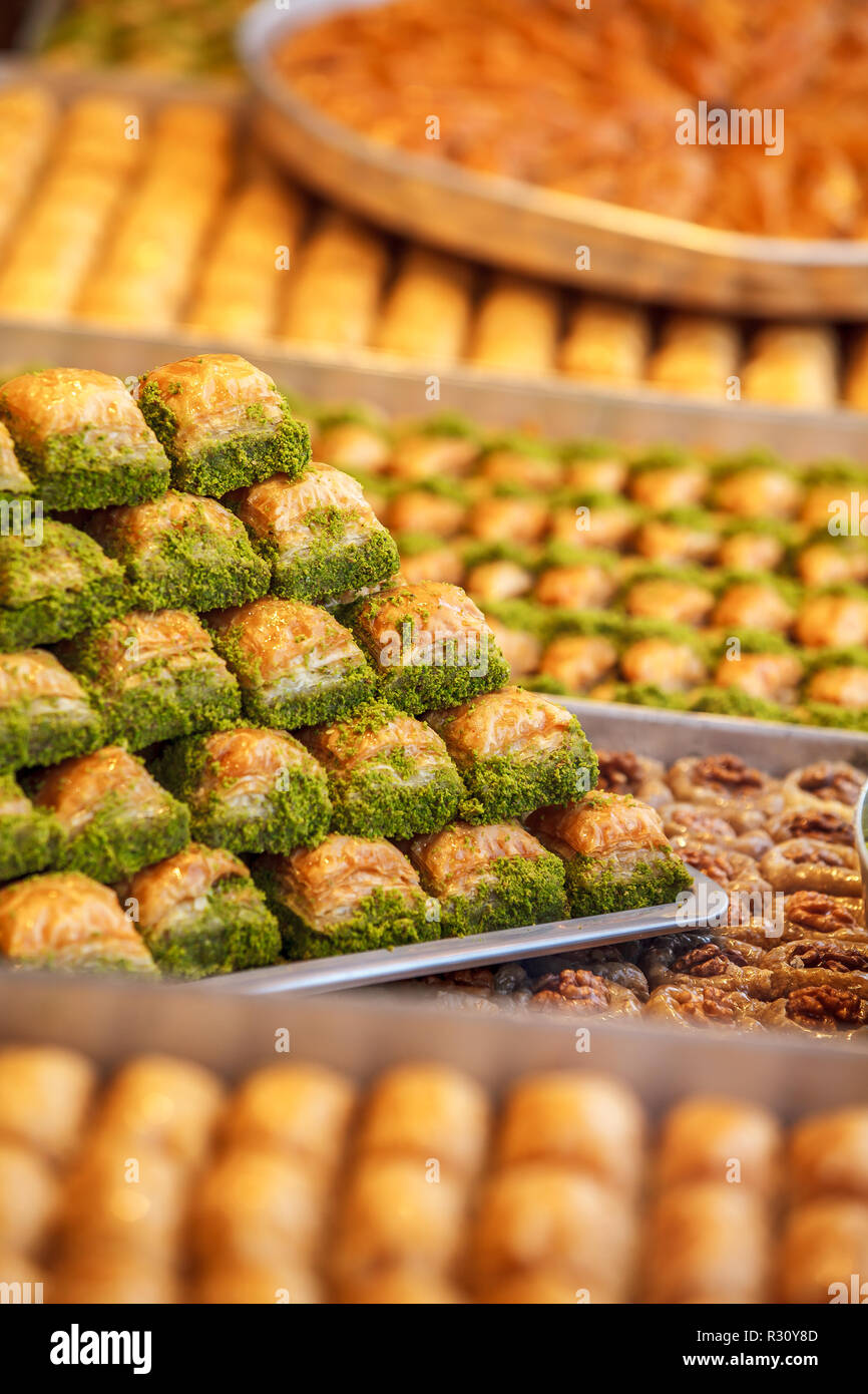 Assorted Flavors of  Turkish Baklava and other Turkish sweets, Istanbul Province. Istanbul, Turkey Stock Photo