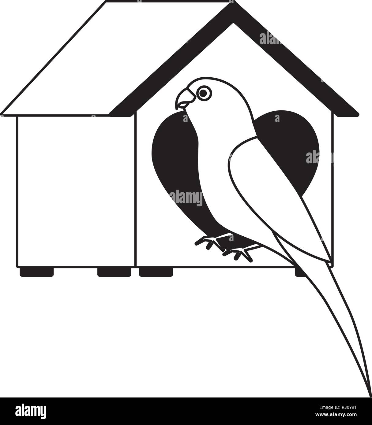 parrot with wooden house pet vector illustration - Stock Image