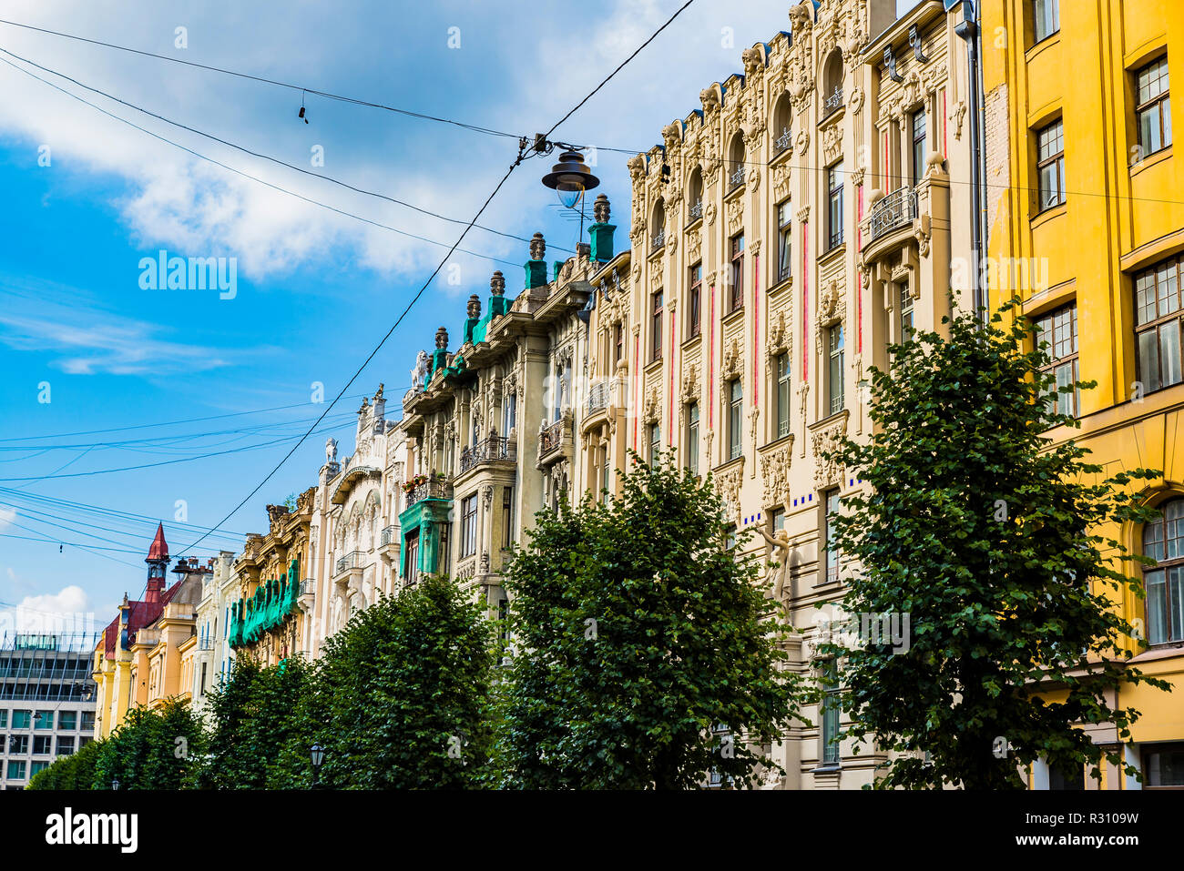 Art nouveau architecture in Riga - Albert Street is a street in central Riga known for its Art Nouveau buildings. Riga, Latvia, Baltic states, Europe. - Stock Image