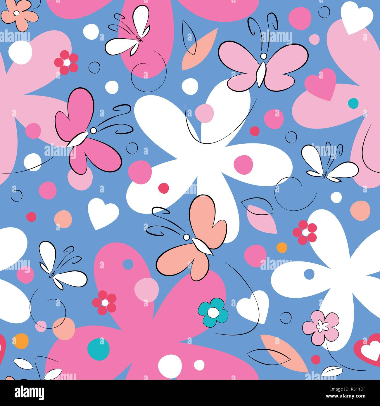 Pink and white butterflies and flowers pattern on blue background Stock Vector