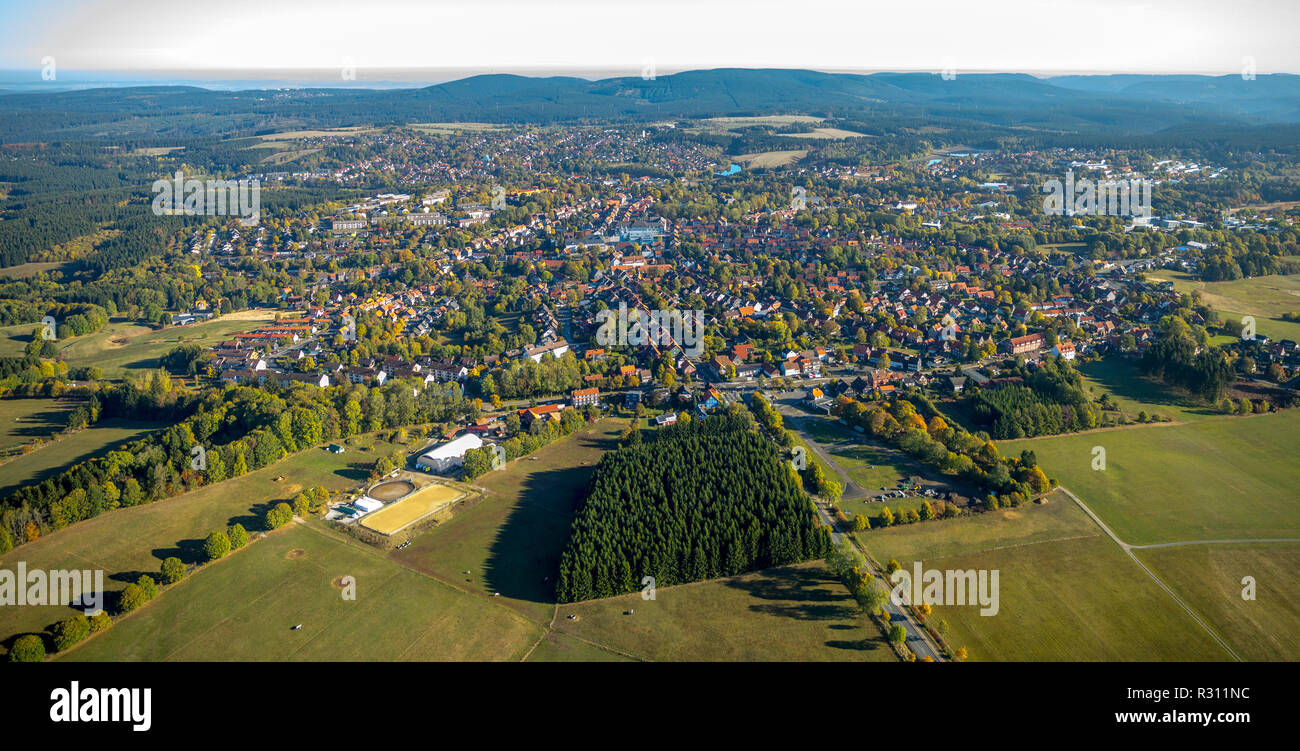 Aerial view, overview Clausthal-Zellerfeld, Goslar district, Lower Saxony, Germany, Europe, Clausthal-Zellerfeld, DEU, birds-eyes view, aerial view, a - Stock Image