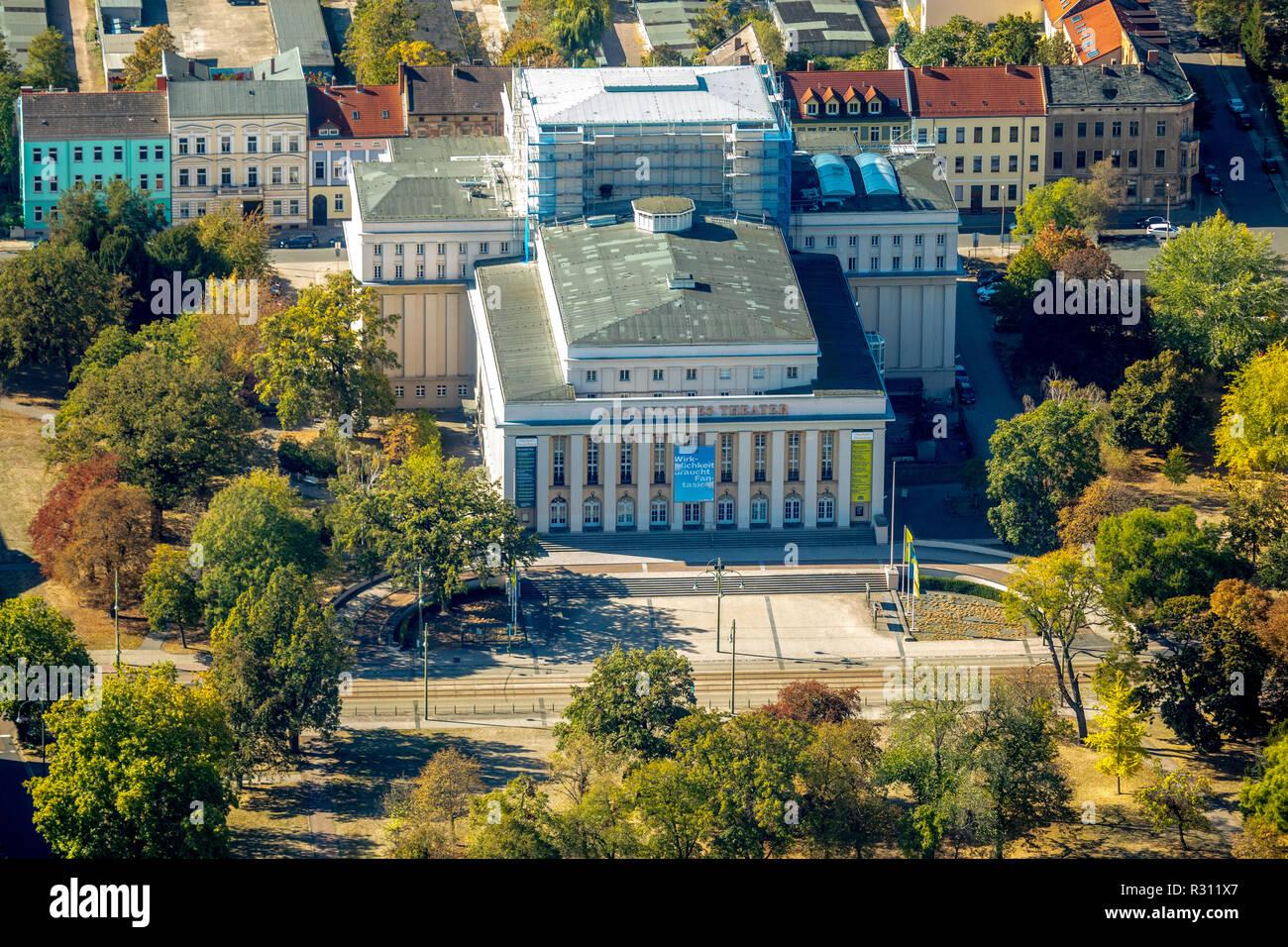 Aerial view, Anhaltisches Theater Dessau, Friedenspl Dessau, Goslar district, Saxony-Anhalt, Germany, Europe, Dessau, DEU, birds-eyes view, aerial vie - Stock Image