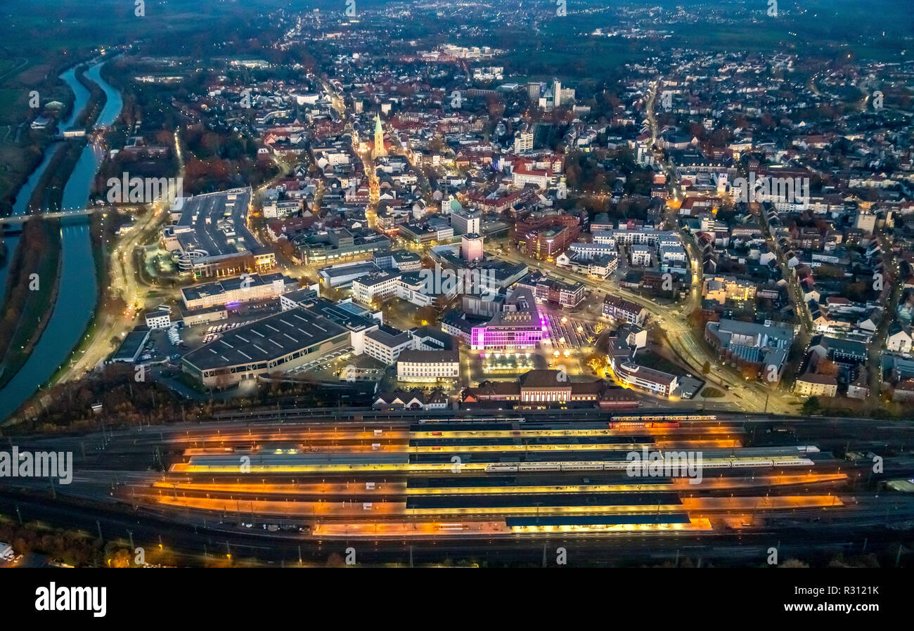 On the mind, DEU, Germany, Europe, Hamm, Hamm Central Station, SRH College of Logistics and Economics, downtown Hamm, Kleist Forum, aerial photography - Stock Image