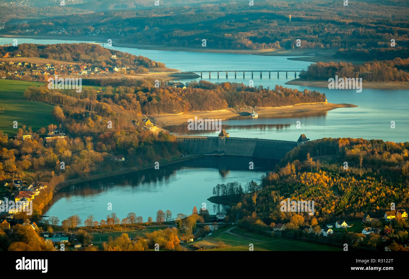 Aerial view, low water Möhnesee, dam Möhnesee, broad shore area, Sauerland, Möhnesee, nature park Arnsberger forest, Haarstrang, North Rhine-Westphali Stock Photo