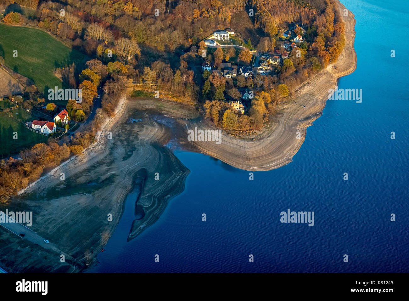 Aerial view, low water Möhnesee, broad shore area, Sauerland, Möhnesee, Arnsberger Wald Nature Park, Haarstrang, North Rhine-Westphalia, Germany, DEU, Stock Photo