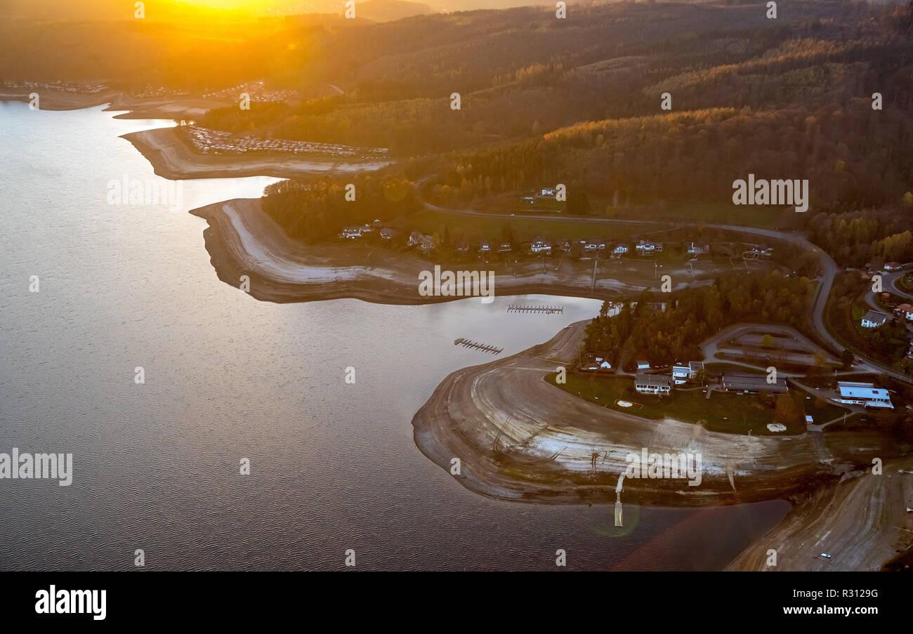 , Aerial view, Sorpesee, low water level, low tide, wide dry bank area, Langscheid, Sundern, Sauerland, North Rhine-Westphalia, Germany, DEU, Europe,  - Stock Image