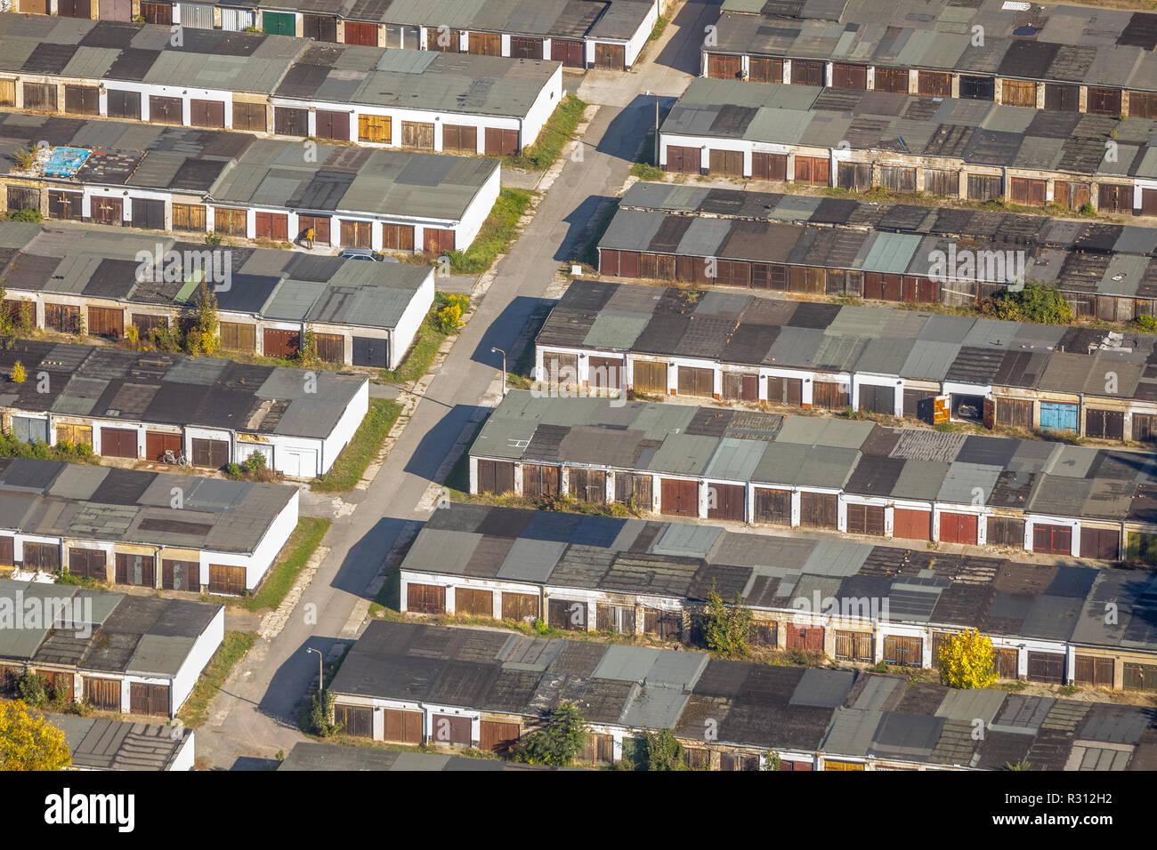Aerial view, garage park Aschersleben, Valentina-Tereshkova street, Paderborn, Saxony-Anhalt, Germany, Europe ,, Aschersleben, Paderborn, DEU, Europe, - Stock Image