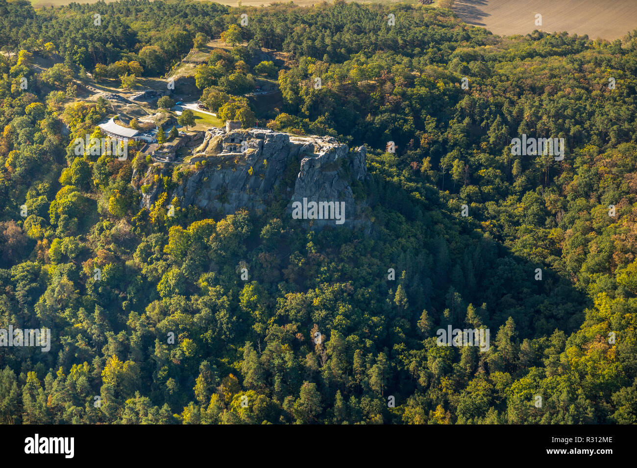 Luftbild, Regenstein Castle and Fortress, Am Platenberg, Blankenburg (Harz), Blankenburg, Paderborn, Saxony-Anhalt, Germany, Europe ,, DEU, Europe, bi - Stock Image