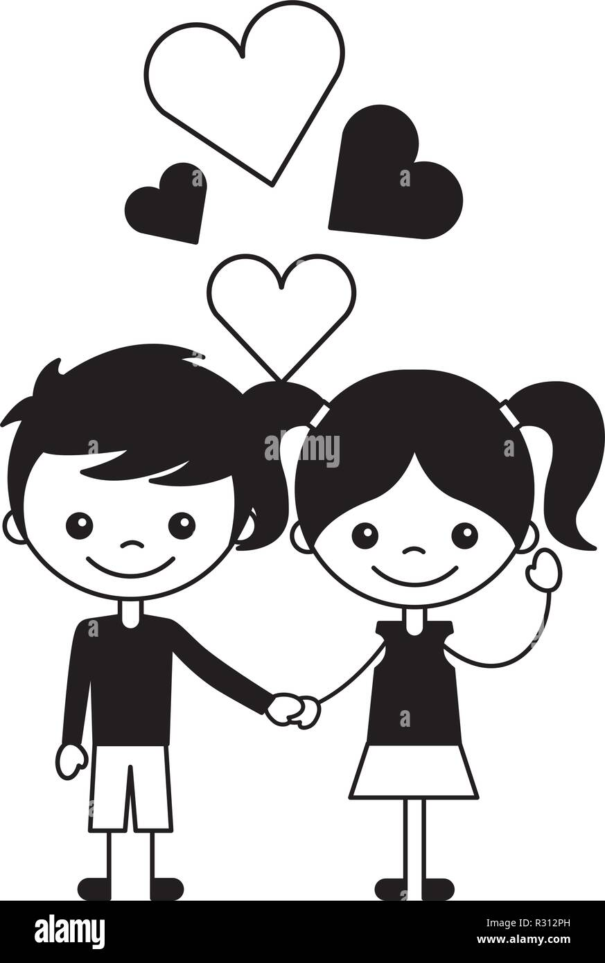 Boy And Girl Love Hearts Cartoon Vector Illustration Stock Vector