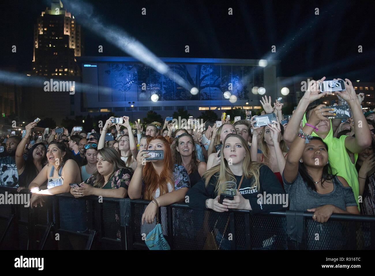 May 9, 2018 - Raleigh, North Carolina; USA - General Atmosphere as Musicians HARRISON MILLS and CLAYTON KNIGHT of the electronic band ODESZA performs live as their 2018 tour makes a stop at the Red Hat Amphitheater located in Raleigh. Copyright 2018 Jason Moore. Credit: Jason Moore/ZUMA Wire/Alamy Live News - Stock Image