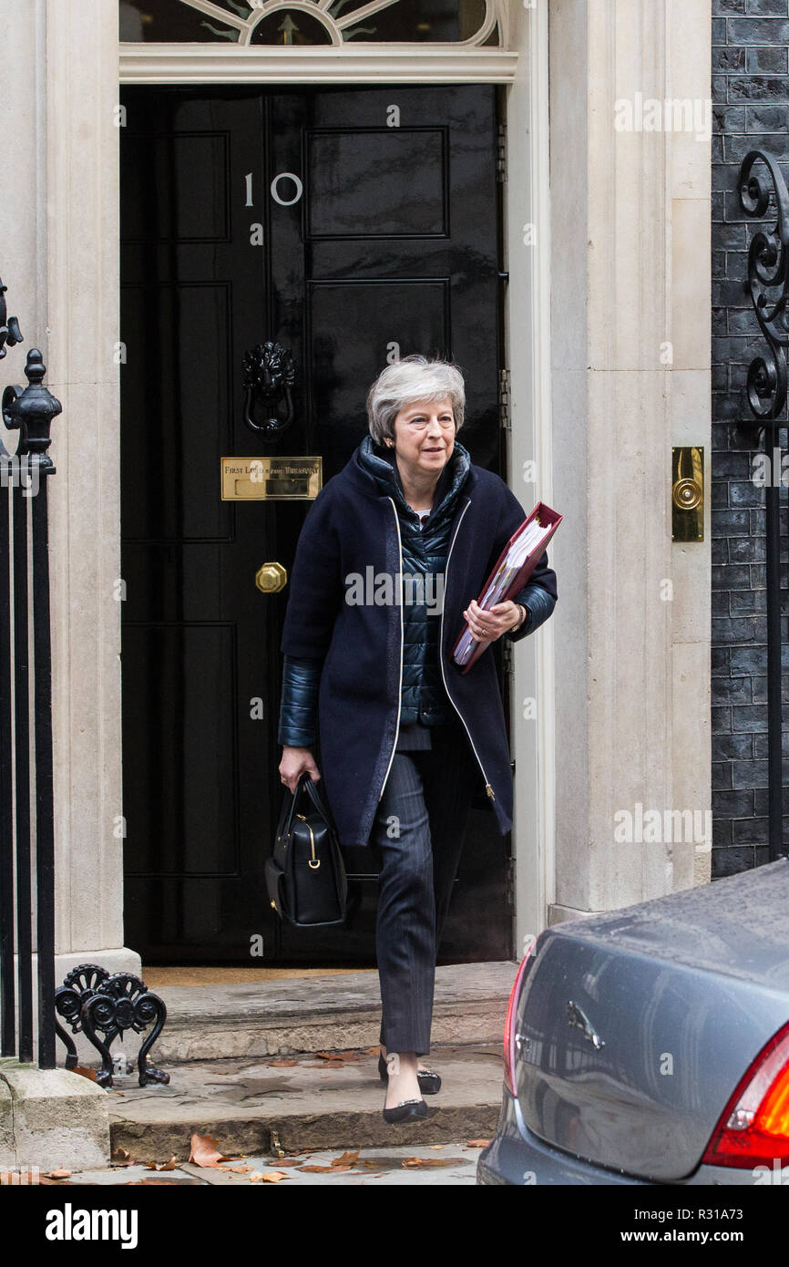 London, UK. 21st November, 2018. Prime Minister Theresa May leaves 10 Downing Street to attend Prime Minister's Questions in the House of Commons on the day on which she is scheduled to travel to Brussels to attend discussions with Jean-Claude Juncker, President of the European Commission, regarding a political declaration to accompany the EU withdrawal agreement. Credit: Mark Kerrison/Alamy Live News Stock Photo