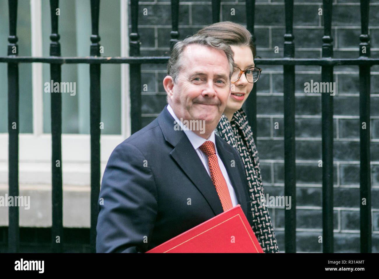 London UK. 21st November 2018. DR Liam Fox MP for East Kilbride and Secretary of State for International Trade and President of the Board of Trade arrives at Downing Street with an aide Credit: amer ghazzal/Alamy Live News - Stock Image