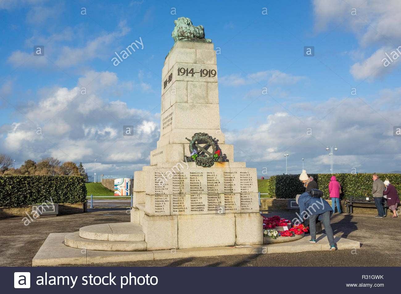 The war memorial on Marine Road, Morecambe, Lancashire on Remembrance Day 2018, 100 years after the end of the First World War - Stock Image