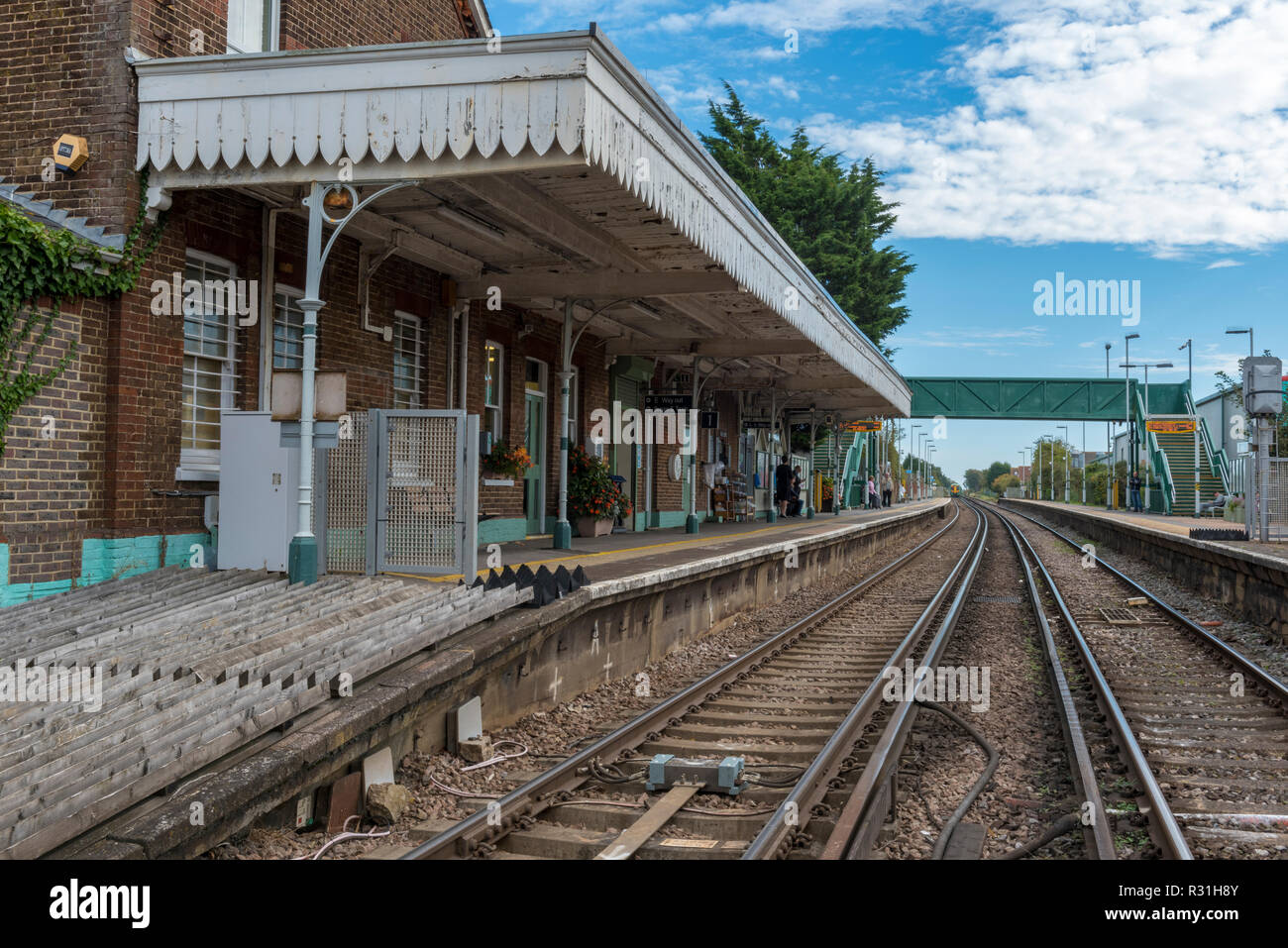 angmering railway station in west sussex. rural halt or country rail station on a network branch line. - Stock Image