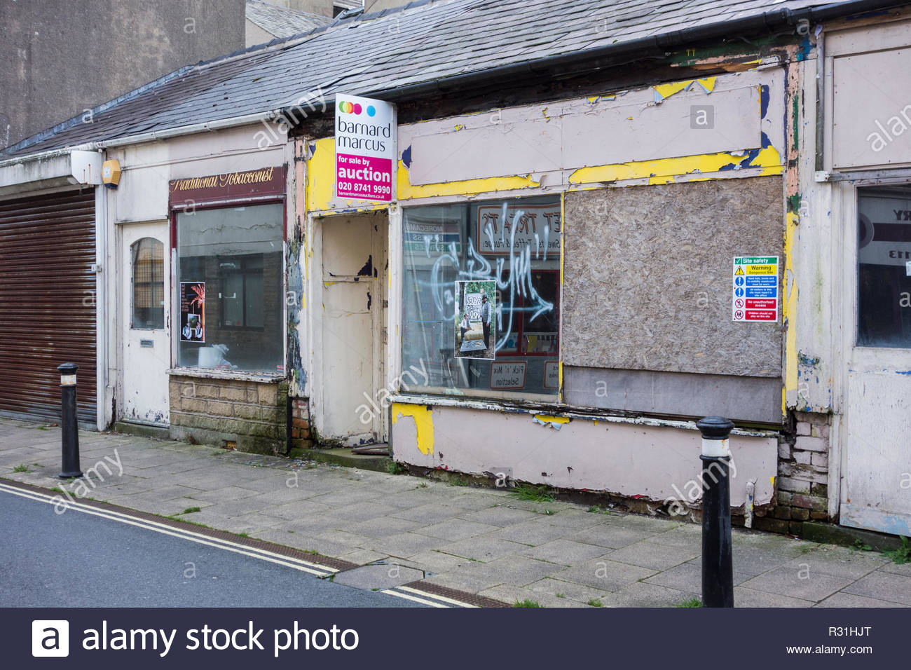 Empty shop unit in Yorkshire Street, Morecambe, once a thriving shopping area but hit by changes in shopping habits - Stock Image
