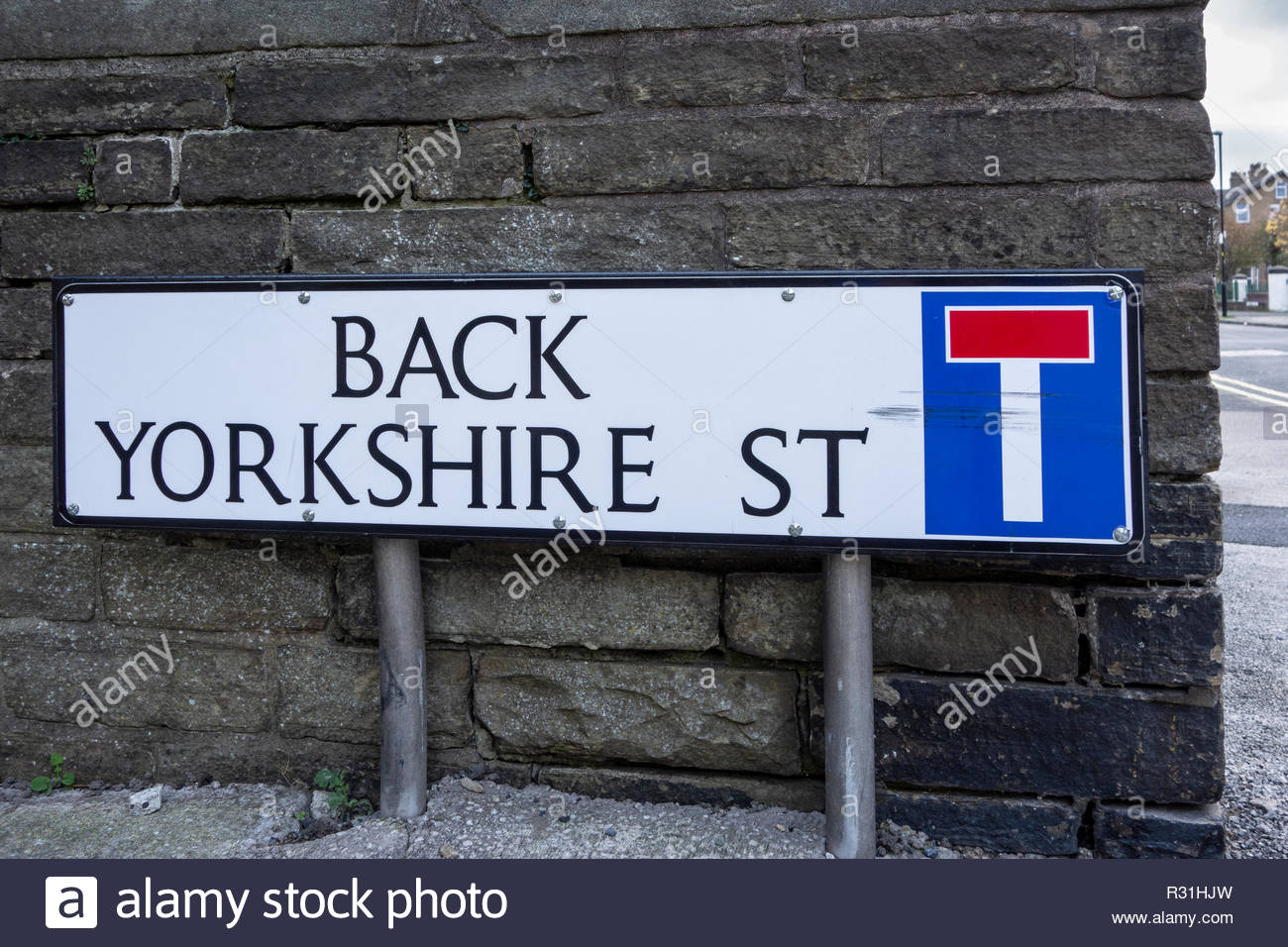 Street sign or road sign for Back Yorkshire Street, a cul de sac in Morecambe, Lancashire - Stock Image