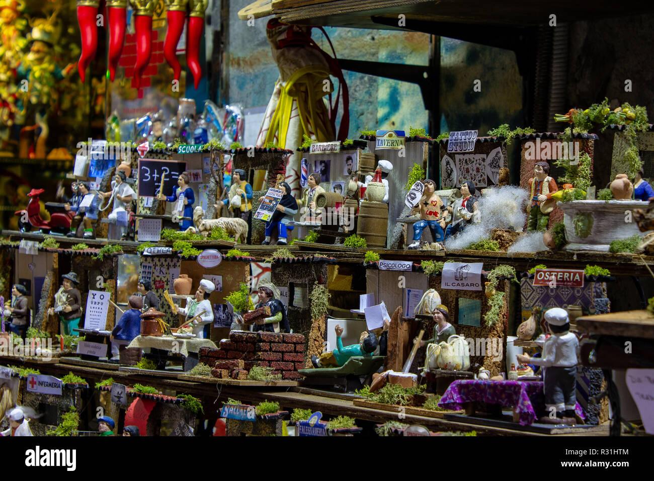 Naples, San Gregorio Armeno the professions represented in the neapolitan crib. 03/11/2018 - Stock Image