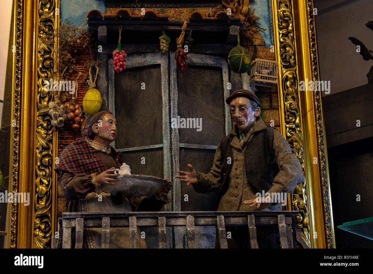Naples, San Greorio Armeno, scene of a play represented in Neapolitan presepial shepherds. 03/11/2018 - Stock Image
