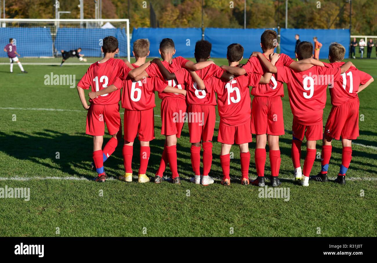 Junior soccer players, U13 penalty kicks, team fever, soccer, Basel, Switzerland - Stock Image
