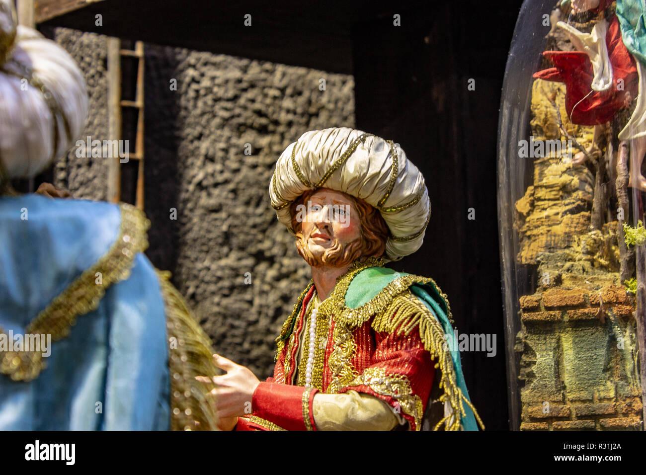 Naples, San Gregorio Armeno , a typical presage of napolitan nativity scene. 03/11/2018 - Stock Image
